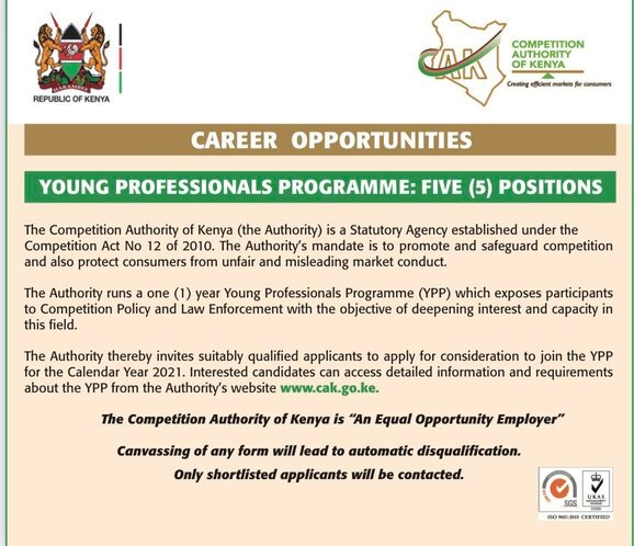 Competition Authority of Kenya Young Professional Programme (YPP) 2020/2021 for young Kenyans