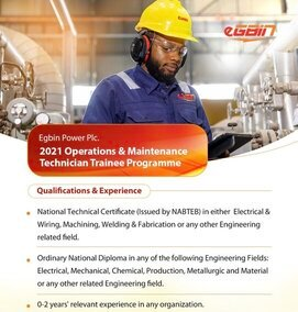 Egbin Power Plc Operations & Maintenance Technician Trainee Programme 2021 for young Nigerians.